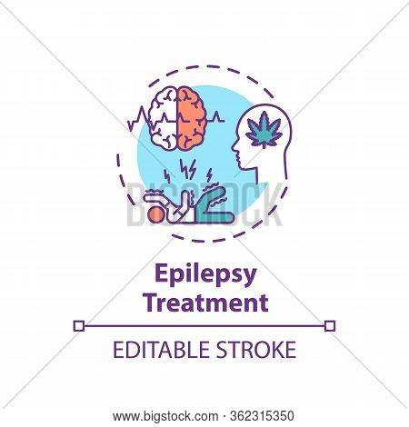 Epilepsy Treatment Concept Icon. Medical Cannabis, Mmj Use, Hemp Medicine Idea Thin Line Illustratio
