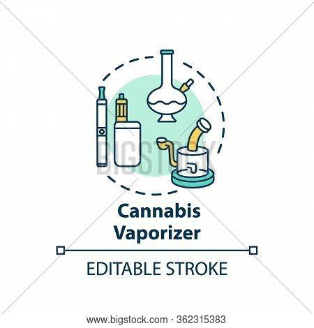Cannabis Vaporizer Concept Icon. Marijuana Extract Smoking, Vaping Idea Thin Line Illustration. Smok