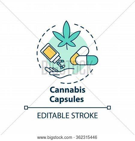Cannabis Capsule Concept Icon. Medical Marijuana, Mmj Prescription Idea Thin Line Illustration. Caps