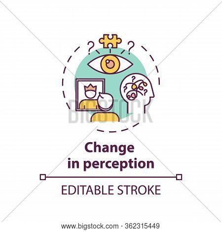 Change In Perception Concept Icon. Cannabis Use Side Effect, Mental Disorder Idea Thin Line Illustra