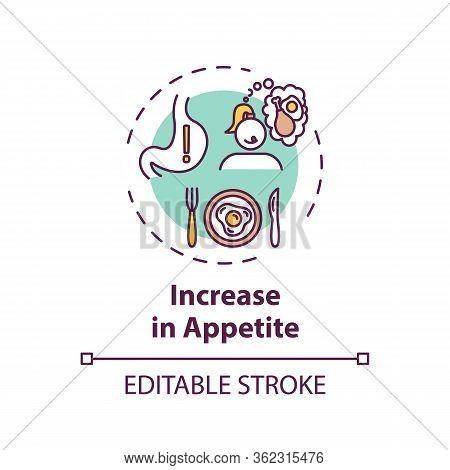 Increase In Appetite Concept Icon. Cannabis Consumption, Marijuana Side Effect Idea Thin Line Illust