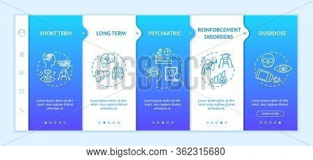 Cannabis Effects Onboarding Vector Template. Weed Smoking Negative Consequence. Drugs Overdose. Resp