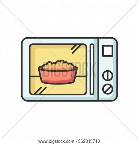 Ready Meal Rgb Color Icon. Microwave Food. Heated Popcorn In Bowl. Meal Preparation. Kitchenware Ele