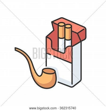 Tobacco Rgb Color Icon. Cigarettes In Open Box Package. Pipe For Smoking. Nicotine Containing Produc