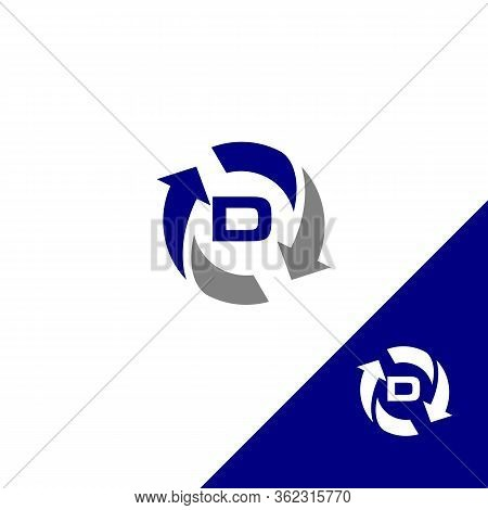 Simple Design Letter D With Round Arrow And Color Blue. Flat Design Letter D. Vector Illustration Ep