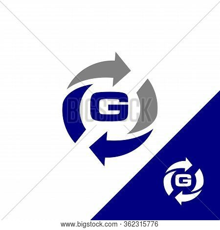 Simple Design Letter G With Round Arrow And Color Blue. Flat Design Letter G. Vector Illustration Ep
