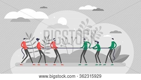 Tug Of War Vector Illustration. Pull Rope Challenge Game Flat Tiny Persons Concept. Creative Visuali