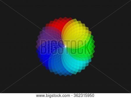 Color Wheel ,monochromatic Color Wheel, Colorful Scheme Theory, Vector Isolated Or Black Background