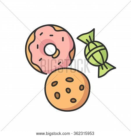 Cookie And Candy Rgb Color Icon. Sweets Products. Donut With Icing. Bakery Goods. Biscuit With Choco