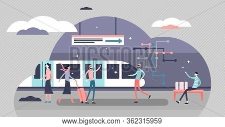 Subway Vector Illustration. Underground Tube Everyday Daily Scene Flat Tiny Persons Concept. Urban P