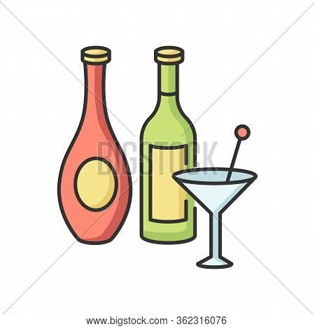 Wine And Spirits Rgb Color Icon. Alcoholic Beverages In Bottles. Martini In Glassware. Bar Menu. Var