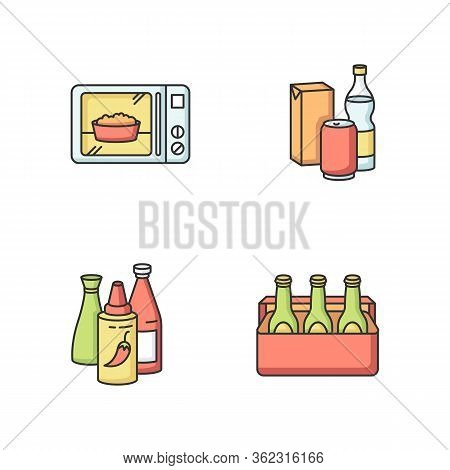 Food Store Products Rgb Color Icons Set. Ready Meal. Microwave Popcorn. Different Beverages. Hot Sau