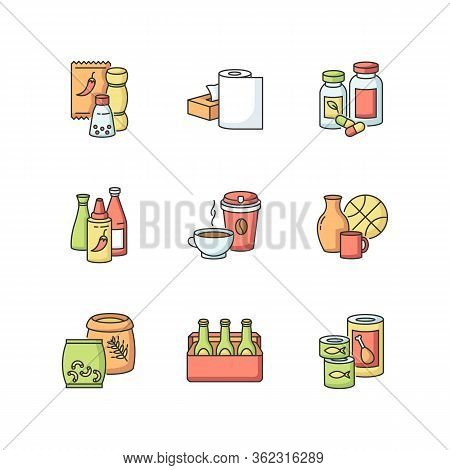 Groceries Rgb Color Icons Set. Condiments For Cooking. Paper Products. Pharmaceutical Pills. Hot Sau