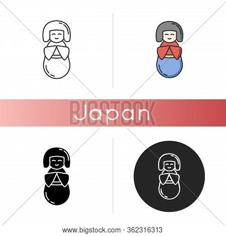 Kokeshi Icon. Traditional Japanese Wooden Doll. Cute Geisha In Kimono. Children Toy In Oriental Styl