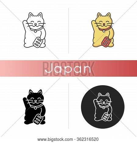 Maneki Neko Icon. Traditional Japanese Mascot To Bring Fortune. Oriental Souvenir From Japan. Kitty