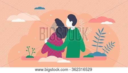 Empathy Vector Illustration. Understanding Other People Feeling In Flat Tiny Persons Concept. Emotio