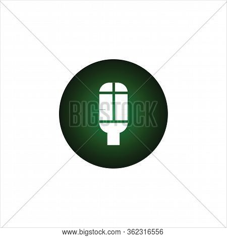 Isolated Microphone Icon With A Black Gradation Green Background. A Microphone Icon With A Trendy De