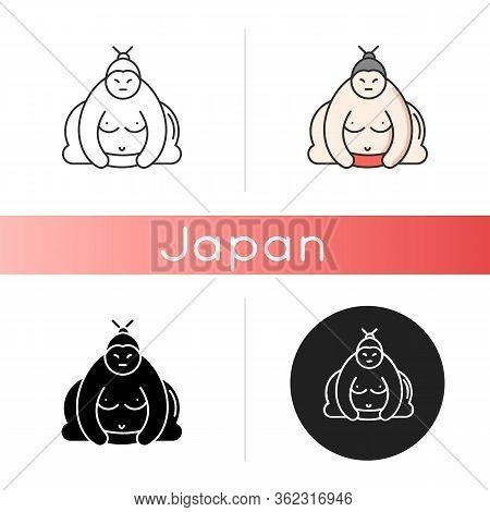 Sumo Icon. Traditional Asian Wrestler. Shirtless Large Athlete In Power Stance. Japanese Ringer. Man