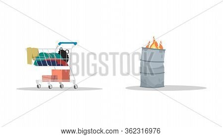 Homeless Attributes Semi Flat Rgb Color Vector Illustrations Set. Trolley Cart With Junk Inside. Met