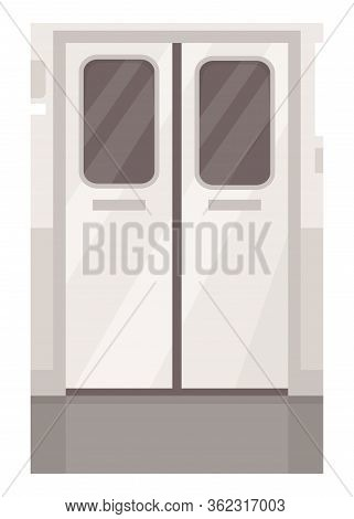 Train Metallic Door Entrance Semi Flat Vector Illustration. Subway Tram Doorway. Public Transport Ex