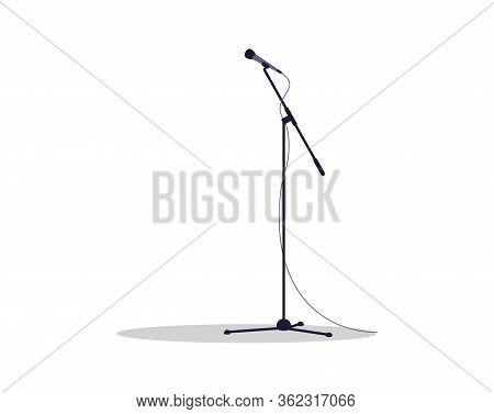Microphone Stand Semi Flat Rgb Color Vector Illustration. Mic On Stage For Stand Up Comedy Performer