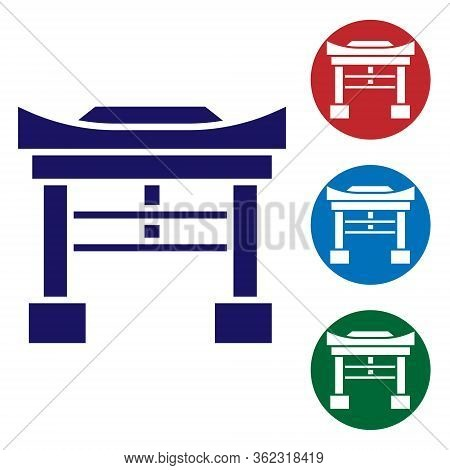 Blue Japan Gate Icon Isolated On White Background. Torii Gate Sign. Japanese Traditional Classic Gat