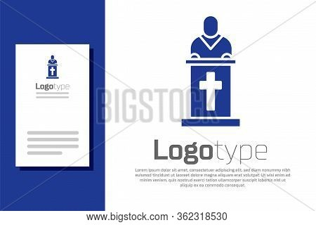 Blue Church Pastor Preaching Icon Isolated On White Background. Logo Design Template Element. Vector
