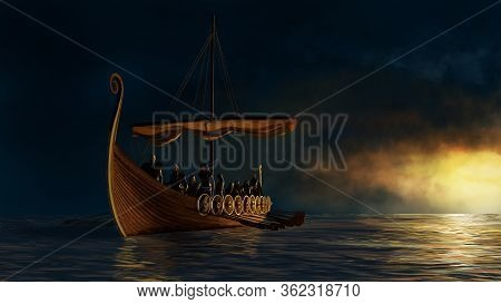 Viking Ship On The Calm Sea Under The Gold Sunshine. 3d Render And Digital Painting Illustration.