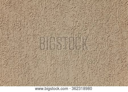 Neutral Beige Wall, Texture, Background. Plastered Building Wall, Painted With Cream Water-based Pai