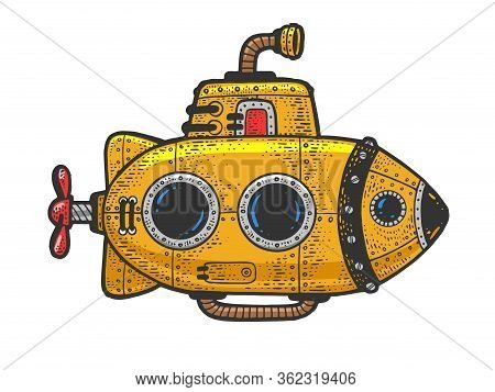 Cartoon Steampunk Yellow Submarine Color Sketch Engraving Vector Illustration. T-shirt Apparel Print