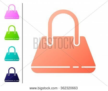 Coral Handbag Icon Isolated On White Background. Female Handbag Sign. Glamour Casual Baggage Symbol.