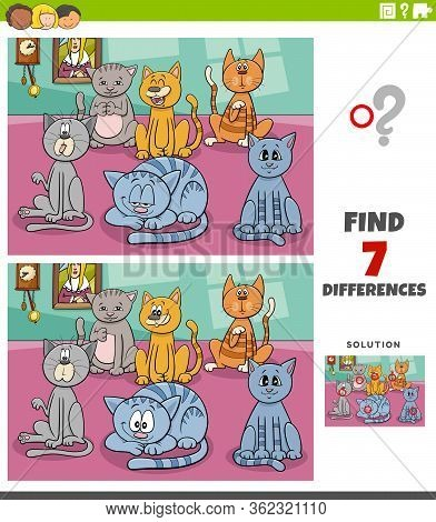 Cartoon Illustration Of Finding Differences Between Pictures Educational Task For Children With Funn