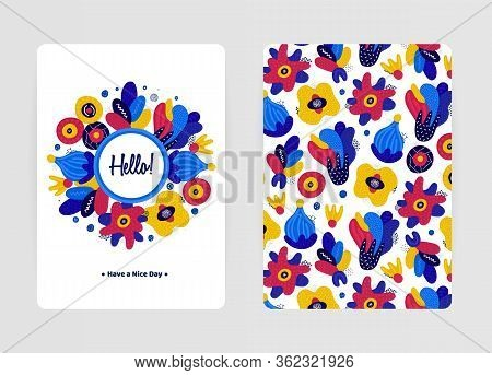 Cover Design With Floral Pattern. Hand Drawn Creative Flowers. Colorful Artistic Background With Blo