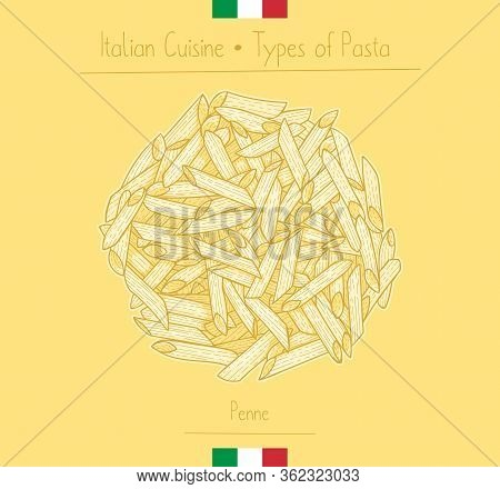 Italian Food Penne Pasta, Sketching Illustration In The Vintage Style