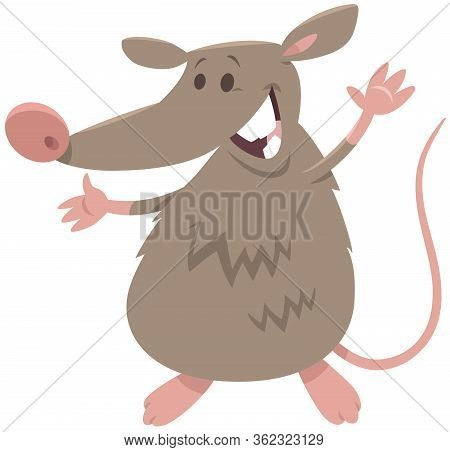 Cartoon Illustration Of Funny Rat Rodent Animal Character