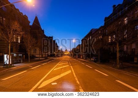 Strasbourg, France - Mar 17, 2020: Empty Avenue De La Liberte While The City Imposes Emergency Measu