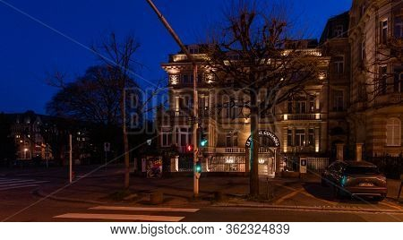 Strasbourg, France - Mar 17, 2020: Empty Street And Closed Hotel While The Authorities Imposes Emerg