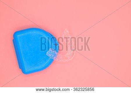 Plastic Impression Of Teeth. Orthodontic Silicone Trainer. Mobile Orthodontic Appliance For Dental C