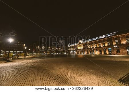 Strasbourg, France - Mar 17, 2020: Empty Place Kleber Square As City Imposes Emergency Measures To C