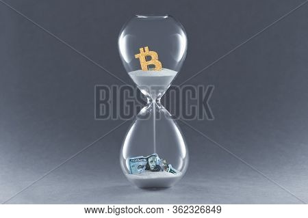 Hourglass On Dark Background. Concept Passing Traditional Currency Time, And Time Cryptocurrency Bit