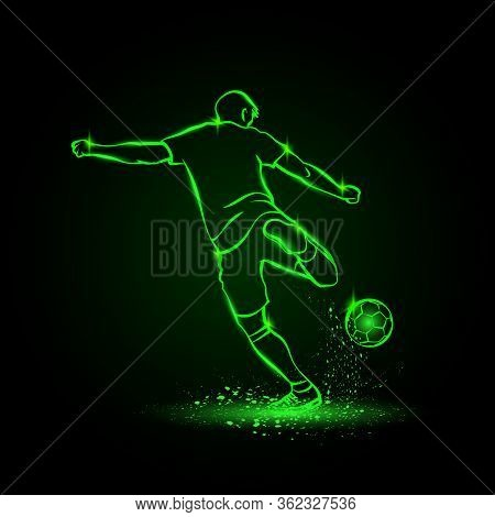 Soccer Striker, Back View. Football Player Hits The Ball In The Dark. Vector Soccer Sport Green Neon