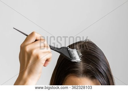 Closeup Woman Hands Dyeing Hair Using A Black Brush. Colouring Of White Hair At Home.