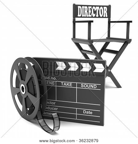 Film industry: directors chair with film strip
