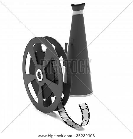 Film strip and megaphone