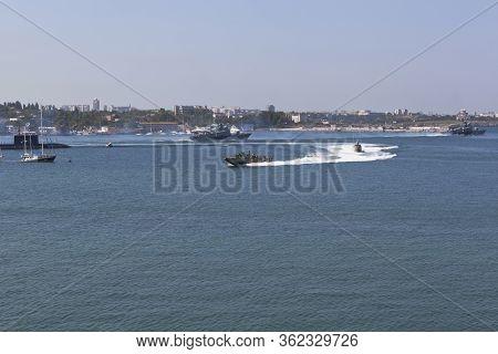 Sevastopol, Crimea, Russia - July 28, 2019: Raptor Landing Craft Maneuvers At The Celebration Of The