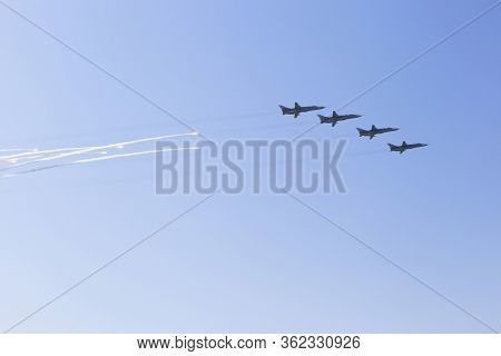 Sevastopol, Crimea, Russia - July 28, 2019: Su-24 Aircraft Salute With Heat Traps At The Navy Day Pa
