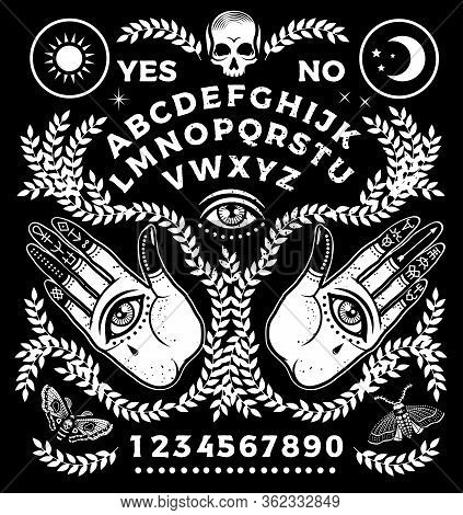 Ouija Board With Hands. Occultism Set. Vector Illustration.