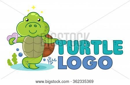 Cute Little Turtle Holding A Heart. Pet Shop Logo Or Mascot. Underwater Funny Logotype. Design For P