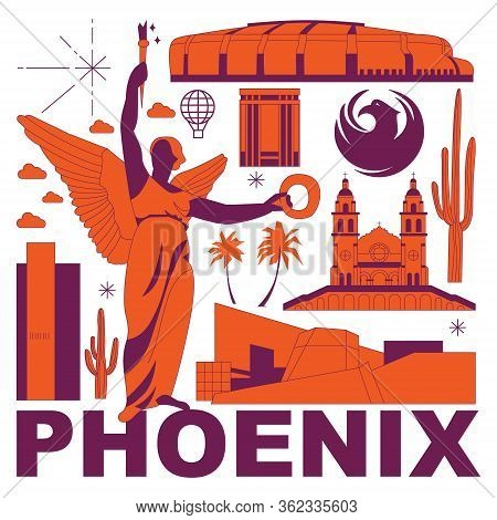 Phoenix Culture Travel Set, American Famous Architectures, Usa In Flat Design. Business Travel And T