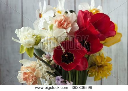 Bouquet Of Beautiful Daffodils Of Different Types, Red Tulips And Hyacinths On A White Wooden Backgr